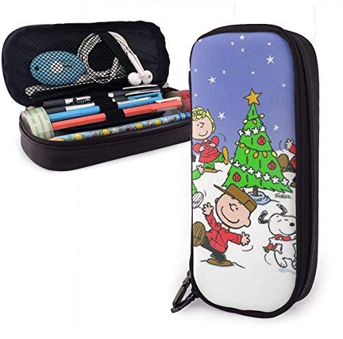 Frohe Weihnachten snoo-py (4) Bleistiftetui mit großer Kapazität Ledermäppchenetui Schreibwaren Tasche Reißverschlusstasche Bleistifthalter