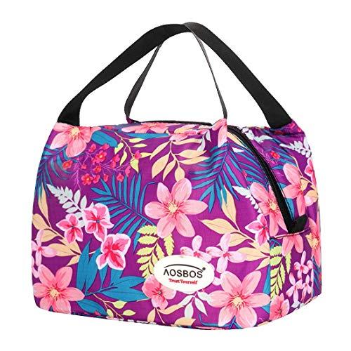Kühltasche Klein Leicht Handtasche Isoliertasche zur Arbeit Schule Faltbar Wasserdicht Reißverschluss 8,5L (Lila)