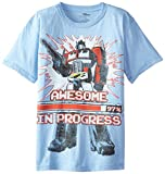 Power Rangers Little Boys' Transformers Optimus Prime Awesome in Progress Short Sleeve Tee, Light Blue Heather, 5/6