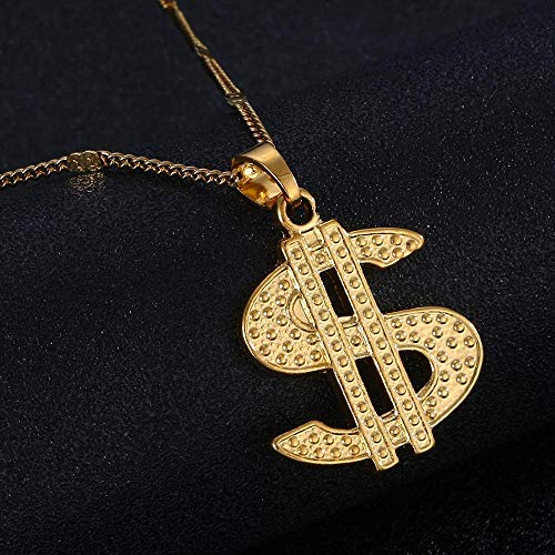 Collar femenino con colgante de símbolo de dólar estadounidense de color dorado para accesorios de joyería de mujer
