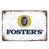 Cartel de chapa con texto en inglés «Fosters» de cerveza australiana, decoración retro para bar, cafetería, pub, letrero de hojalata de 20 x 30 cm