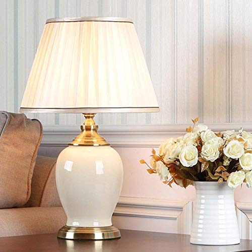 BICCQ table lamps Modern White Ice Crack Ceramic Table Lamp Simple Bedroom Bedside Lamp Living Room Home 33x55cm