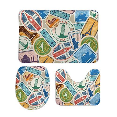 Pegatinas de sellos con objetos culturales históricos viajando Visa tapetes de baño y tapetes Sets de 3 piezas en forma de U para tapa de inodoro
