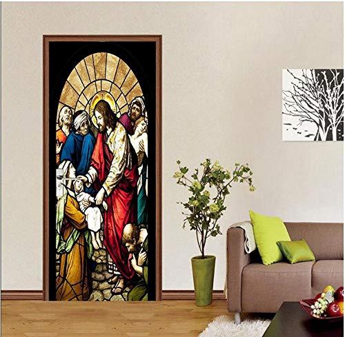 Creative Wall Sticker Autocollant De Porte 3D Religion Saint Fils Son Avent Chambre Entrée Penderie Maison Diy Décoration