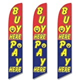 Three (3) Pack Full Sleeve Swooper Flags BUY HERE PAY HERE Red Blue Yellow