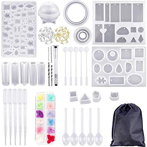DoGeek 159 Piezas de Moldes de Resina de Silicona para Hacer Joyas, Kits de Resina de Silicona con Hojas de Flores Secas, Juego de Joyería para Hacer Joyas (160 PCS)