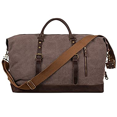 S-ZONE Oversized Canvas Genuine Leather Trim Travel Tote Duffel Shoulder Handbag Weekend Bag (Coffee)