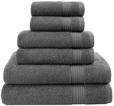Hotel & Spa Quality, Absorbent and Soft Decorative Kitchen and Bathroom Sets, Cotton, 6 Piece Turkish Towel Set, Includes 2 Bath Towels, 2 Hand Towels, 2 Washcloths, Charcoal Grey