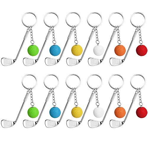 AFASOES 12 Stück Golf Schlüsselanhänger Schlüsselring Mini Golfball Anhänger Metall Golfball Schlüsselanhänger mit Mini Golfschläger und Golfball Geschenk für Golfer Männer und Kinder(6 Farben)