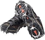 AUHIKE 19 Garras de Dientes Crampones Cubierta Antideslizante de Zapatos con Cadena de Acero Inoxidable para Excursiones Pesca Escalada Trotar Montañismo Caminata sobre Nieve y Hielo (M)
