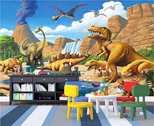 QFAZO Mural personalizado 3d papel tapiz foto dibujos animados lagos dinosaurio decoración del hogar pintura imagen 3d murales de papel tapiz para, 300x210 cm (118,1 por 82,7 pulgadas)