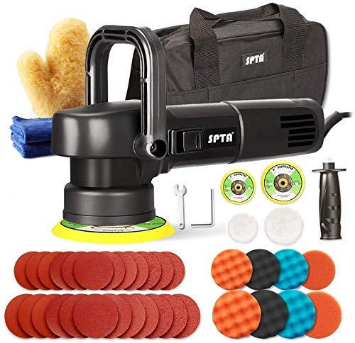 SPTA Exzenter Poliermaschine, 850W Polierer, 6 Variable Geschwindigkeit mit 150/125mm Polierteller, 10 Polierschwämme, 24 Schleifpapie, zum Polieren von Auto, Möbeln -6840150PT