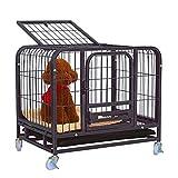 Jaula para Perro Negro casa de perro perros pequeños perros medianos gran caja perros mascotas de la perrera fuerte con cuatro ruedas, fácil de instalar for uso en interiores al aire libre Perreras
