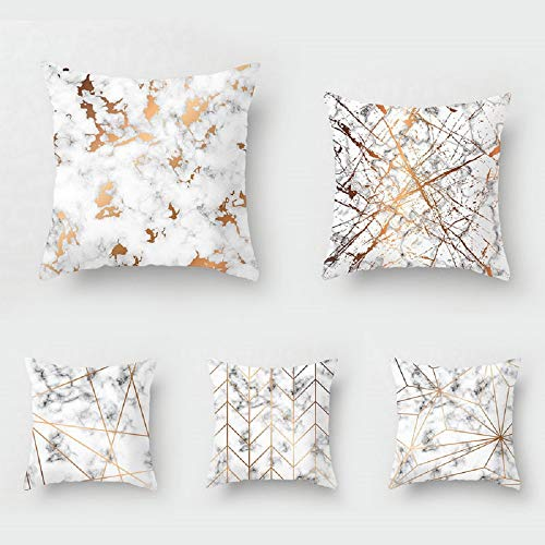 WAZA Set de 5PCS Funda de Cojín Suave Funda de Almohada Cuadrado Throw Pillow Case Decoración para Sofá Cama Hogar Coche Estilo Nórdico de Mármol Simple Moderno 45x45cm