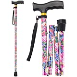 LIXIANG Folding Walking Cane, 5-Level Height Adjustable Walking Stick for Men & Women with Comfortable Plastic T-Handle Portable Walking Stick, Rosy Floral Printing