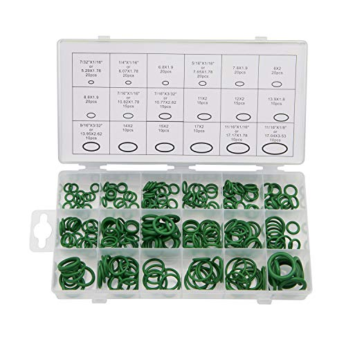 270 Pieces 18 Sizes SAE Inch Car Air Conditioning A/C O Ring Seals Rubber O-Ring Kit(Green)