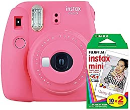 Fujifilm instax Mini 9 Instant Camera (Flamingo Pink) and instax Film Twin Pack (20 Exposures) Bundle Pink