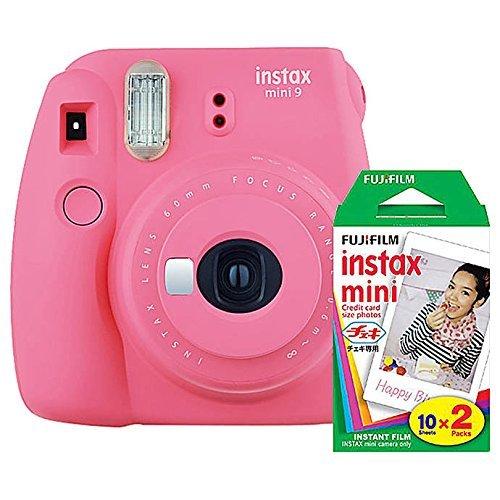 Fujifilm instax Mini 9 Instant Camera (Flamingo Pink) and instax Film Twin Pack (20 Exposures) Bundle Pink
