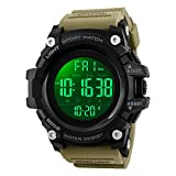 Mens Watches, Waterproof Military Dightal Watch with Calendar Chronograph Countdown Timer Alarm LED Backlight Running Sports Watch (Khaki)