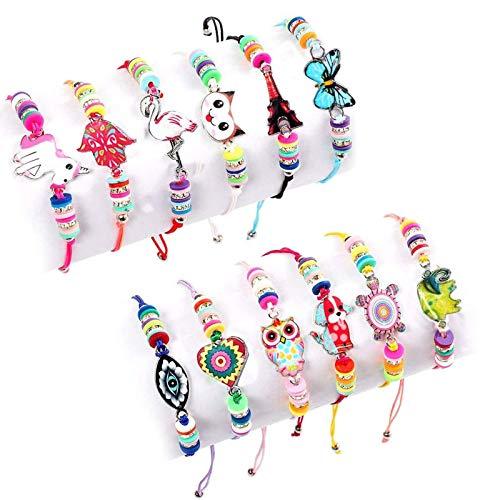 Cypin 12Stk Freundschaftsarmband Kinder Armbänder Mädchen Einstellbar Armband Geflochten Einhorn Schildkröte Eule Flamingo Armbänder Kleine Geschenke für Kindergeburtstag