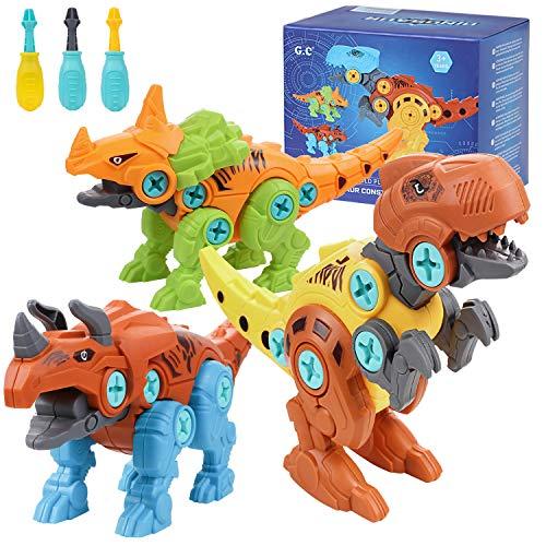 3PCS Juguetes de Montaje de Dinosaurios Juguete Puzzle Dinosaurio con Destornillador, Bricolaje Desmontar Juguete Incluir Tyrannosaurus Velociraptor y Triceratops, para Niños Niñas