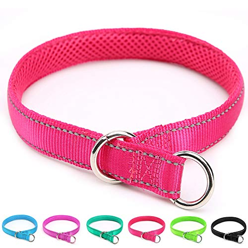 Mycicy Reflective Slip Collar, Soft Nylon Training Choke Collar for Dogs in Rose Red 22', Wide 1'