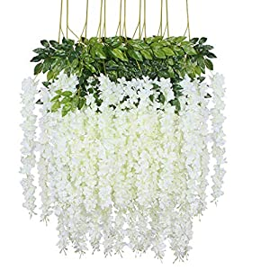 Lmeison 12Pack 3.6 Feet Artificial Wisteria Flowers, Fake Wisteria Vine Ratta Hanging Garland Silk Flowers String Home Party Wedding Decor, White