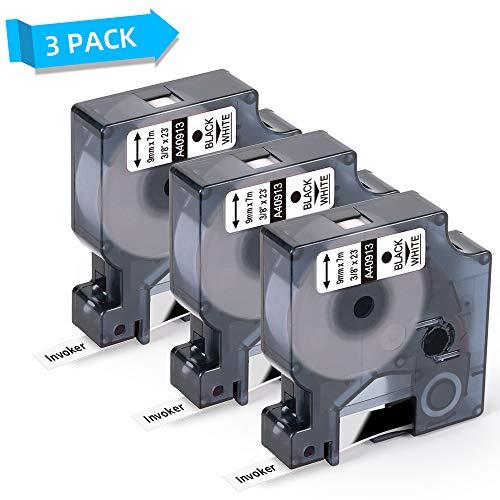 Invoker kompatible Schriftband als Ersatz für Dymo 40913 S0720680 Etikettenband 9mm x 7m, für Dymo LabelManager 210D 280 160 360D 420P 450D MobileLabeler und LM PnP-Serie (Schwarz auf Weiß, 3er-Pack)