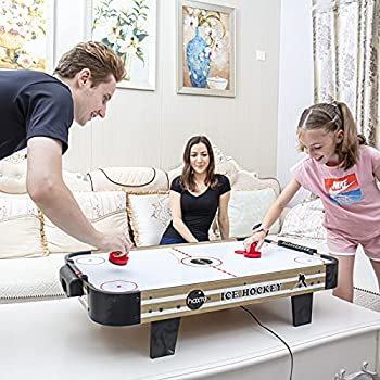 haxTON Table Top Air Hockey Table for Kids and Adults - with Electric Motor Fan/4 Air Hockey Pucks and 2 Air Hockey Paddles  Red  Perfect for Family Game Room Adult rec Room basements Garage