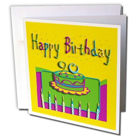 Colorful voor de 90e verjaardag cake en kaarsen - wenskaart, 15,2 x 15,2 cm, Single (GC 20175 5)
