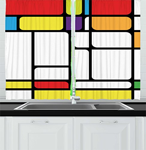 """Ambesonne Modern Kitchen Curtains, Bauhaus Style Inspired Colorful Beveled Geometric Shapes Squares, Window Drapes 2 Panel Set for Kitchen Cafe Decor, 55"""" X 39"""", Yellow White"""