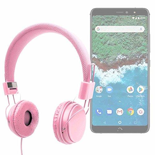 DURAGADGET Auriculares De Diadema Color Rosa para Smartphone BQ Aquaris X2, BQ Aquaris X2 Pro Combinar con Su Móvil!