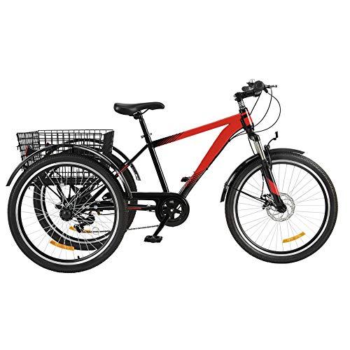 Viribus 24'' Triciclo para Adultos de 7 Velocidades con Manillar y Asiento Ajustable Bicicleta de Montaña de 3 Ruedas para Hombres y Mujeres Triciclo con Campana para Adultos (24 Pulgadas)