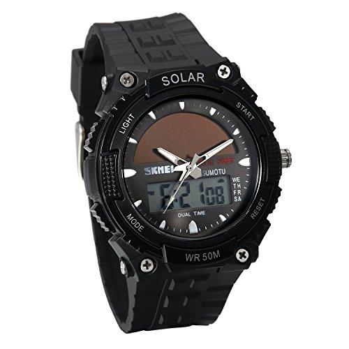 Avaner Herren Solaruhr Analog-Digital Quarzwerk mit Zwei Zeitzonen, wasserdichte Sportuhr mit Kautschuk Armband LED-Beleuchtung Stoppuhr Armbanduhr für Männer (Schwarz)