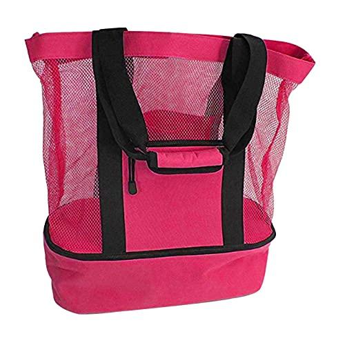 Jiaojie Bolsa de malla para playa con bolsa de picnic desmontable con bolsillo lateral y compartimento de aislamiento para exteriores
