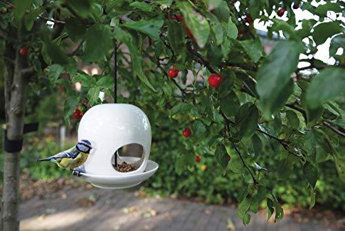 Esschert Design Vogelhaus, Vogelfutterhaus mit Kuppel aus Keramik in weiß, zum Aufhängen, ca. 19 cm x 19 cm x 18 cm - 2