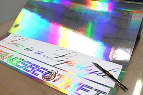 Finest-Folia GmbH (EUR 29,49/m²) 1x Rolle Hologramm Chrom Plotterfolie Silver Oilslick Auto Folie Digitaldruck Etc.