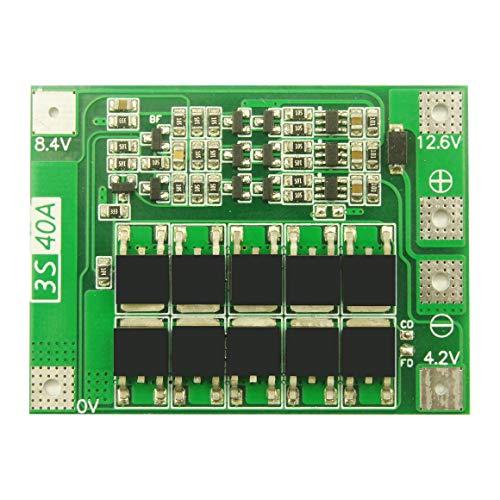KoelrMsd Batería de Litio de Iones de Litio de 3 Series 40A 18650 Cargador PCB Placa de protección BMS con Equilibrio para el módulo de celda Lipo del Motor de perforación