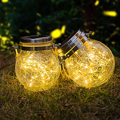 [2 Pack] Lámparas Solares para Jardín, ZVO 30 LED Linterna Solar Exterior, Luces de Vidrio para Colgar, Masón Hada Jardín IP65 Impermeables para Decoración Bodas/Patio/Céspedes/Vallas (Blanco Cálido)