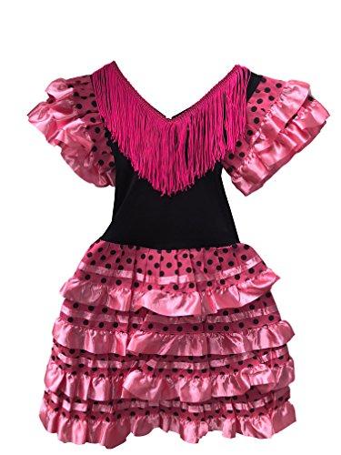 Vestido Flamenco Disfraz Sevillanas Rosa Rojo Topos (Rosa, 6-7 Años)
