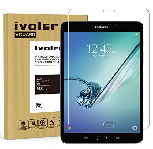 ivoler Panzerglas Schutzfolie Kompatibel für Samsung Galaxy Tab S2 8.0 Zoll (SM-T710 / SM-T715), 9H Härte, Anti- Kratzer, Bläschenfrei, 2.5D Runde Kante