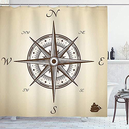 wobuzhidaoshamingzi Kompass Illustration Navigieren Marine Instrument Antike Sammlung Artwork Print Duschvorhang