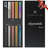 GLAMFIELDS Metal Chopsticks Reusable Chopsticks Dishwasher Safe Multipack Stainless Steel Japanese Style 5 Pairs Lightweight Chop Sticks Gift Set