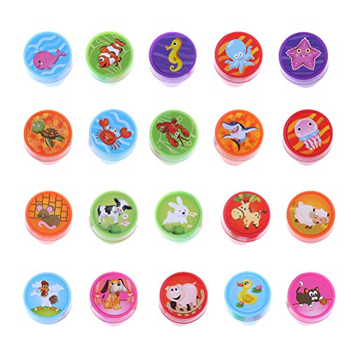 DINGJIN 20 Pieces Assorted Plastic Animal Stamps Set Self Inking Stamps Toy Gifts for Kids Toddler (Farm Animals Sea Animals)