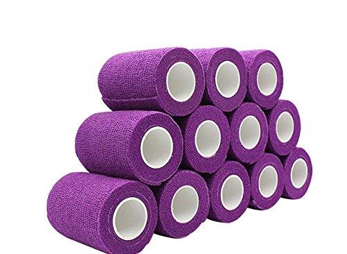 nilo Haftbandagen - 12 Rollen 10cm x 4,5m selbsthaftende elastische atmungsaktive Bandage, Hufverband, Anguss-Verband, Erste Hilfe, Stützverband (Lila)