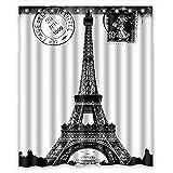 Custom Frech Paris Eiffel Tower City of Love Black White Shower Curtain 60