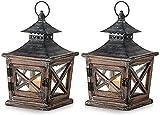 Hanren 2 farolillos de madera retro, portavelas vintage, portavelas de madera y metal, decoración...