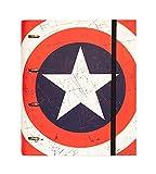 Grupo Erik Editores Premium Marvel - Carpeta troquelada, 4 anillas, diseño Capitan America...