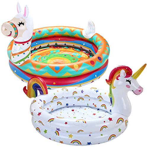 JOYIN Inflatable Kiddie Pool, Unicorn Llama 2 Ring Summer Fun Swimming Pool for Kids, Water Pool Baby Pool for Summer Fun, 47 inches, for Ages 3+