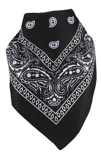 Harrys-Collection Unisex Bandana Bindetuch 100% Baumwolle (1 er 6 er oder 12 er Pack), Farbe:schwarz